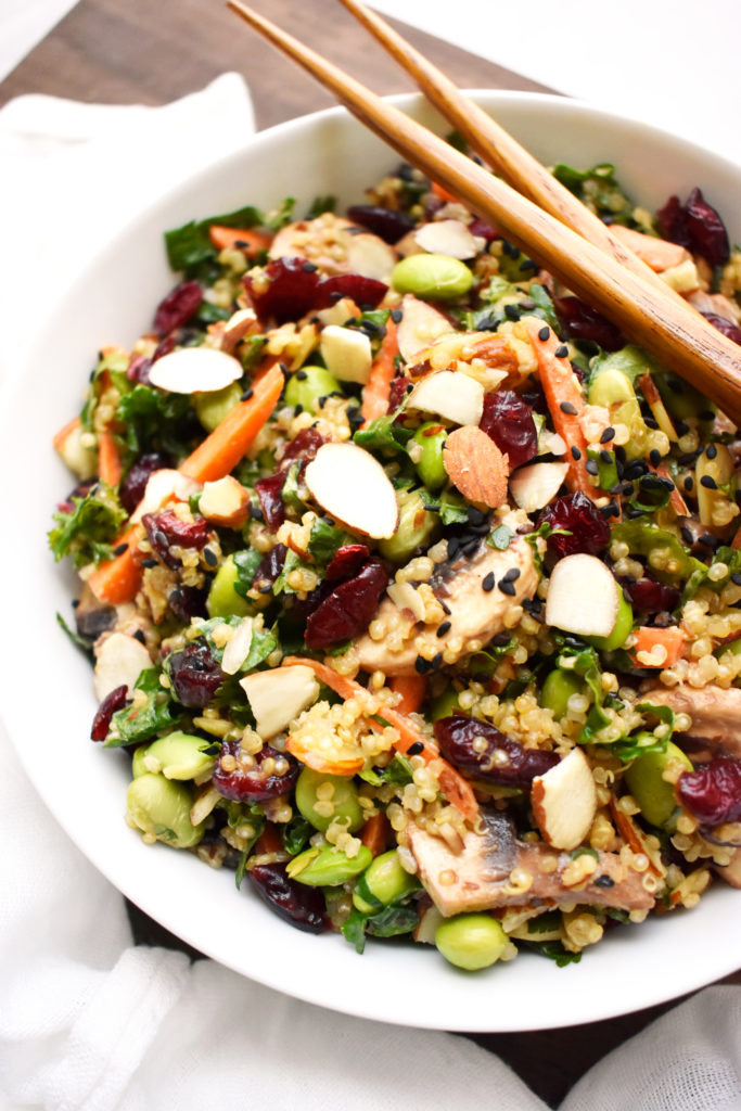 Quinoa Kale Salad with Sesame Peanut Ginger Dressing