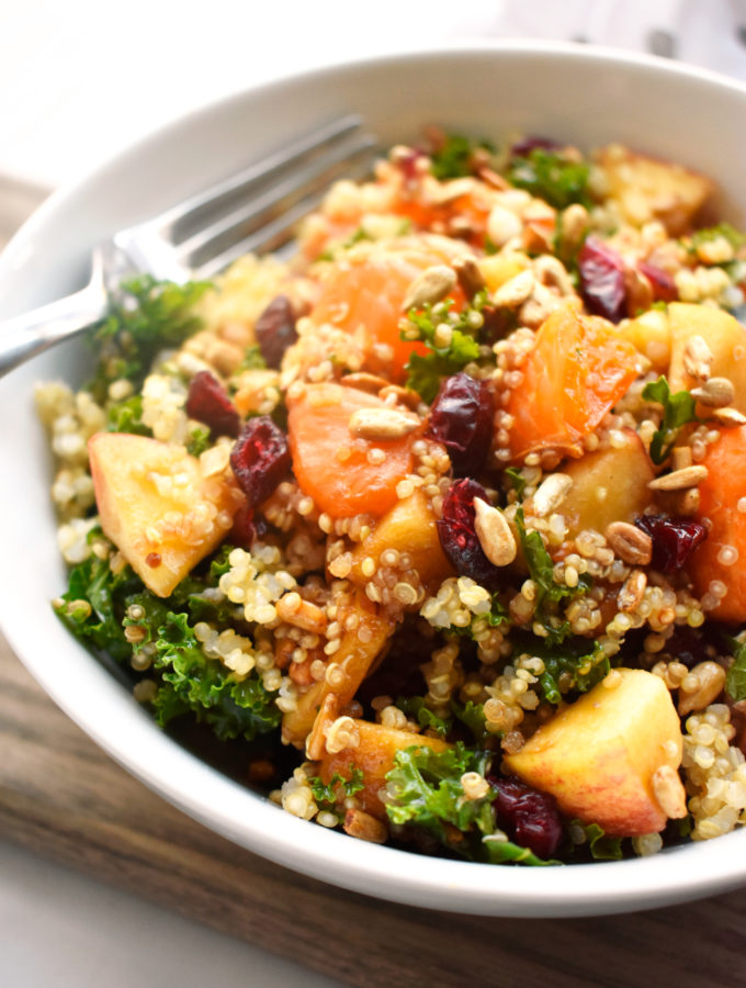 Quinoa Kale Fruit Salad with Cran Orange Balsamic Vinaigrette
